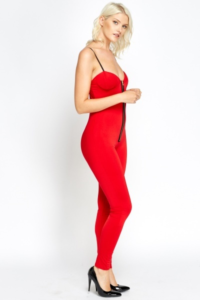 Zip Front Sweetheart Jumpsuit