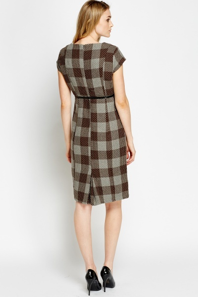Check Belted Smart Dress