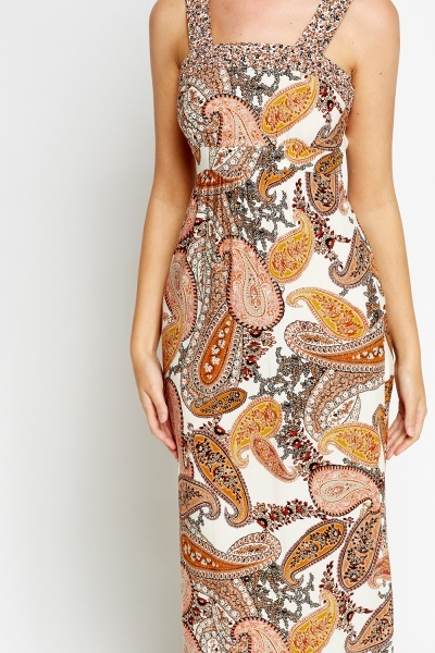 Cream Paisley Maxi Dress
