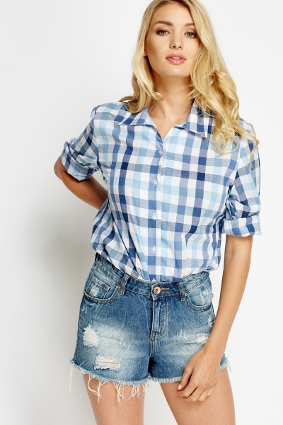 Grid Check Blue Shirt