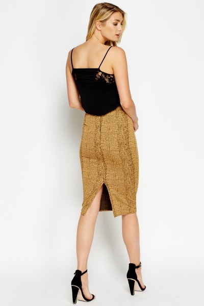 Mock Croc Light Brown Skirt