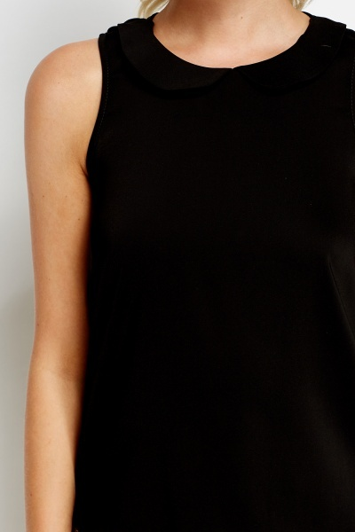 Overlay Black Collard Top