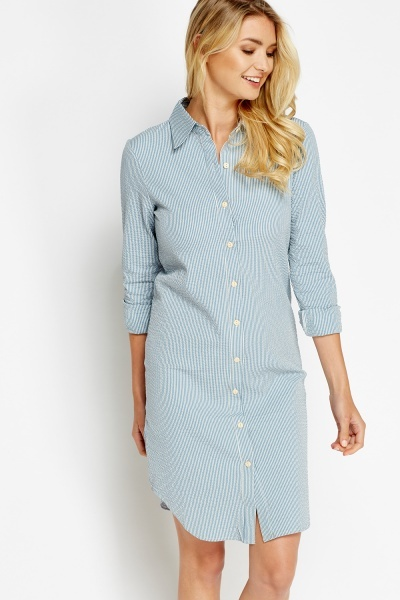 Striped Textured Shirt Dress