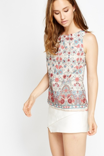 Azalea Flower Print Shell Top