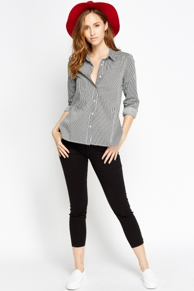 Black Striped Dip Hem Shirt
