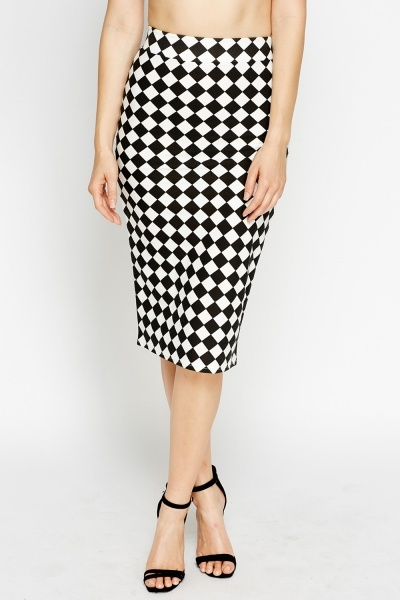 Check Grid Mono Skirt