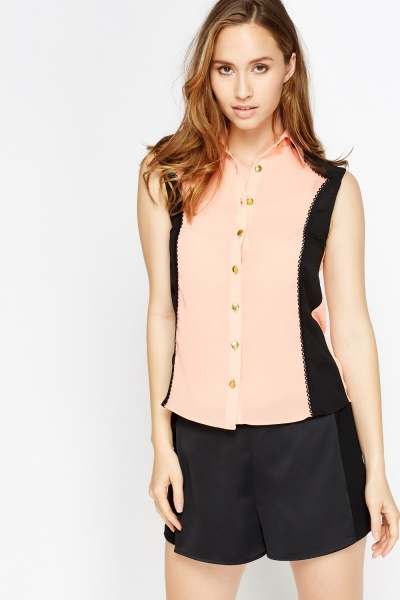 Contrast Trim Sheer Blouse Shirt