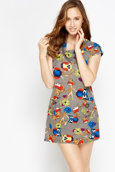 Fleeced Owl Print Cowl Neck Dress
