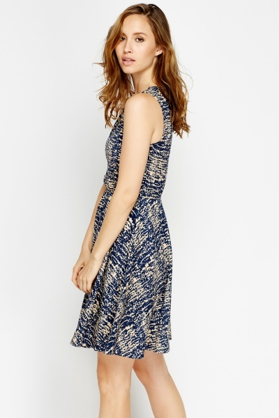 Navy Printed Skater Dress