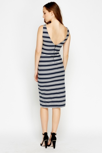 Navy Striped Bodycon Midi Dress