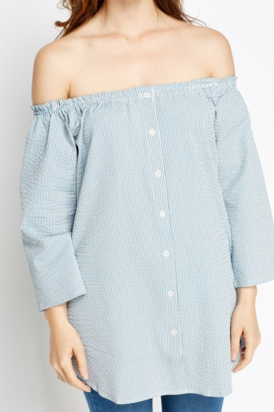 Off Shoulder Striped Button Front Top