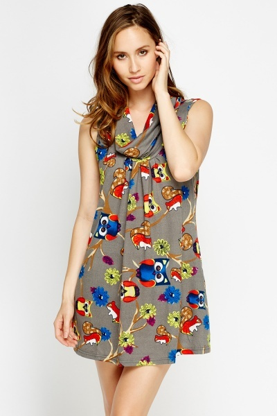 Owl Fleeced Print Cowl Neck Dress