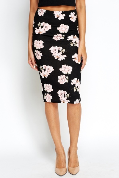 Black Roses Print Bodycon Skirt