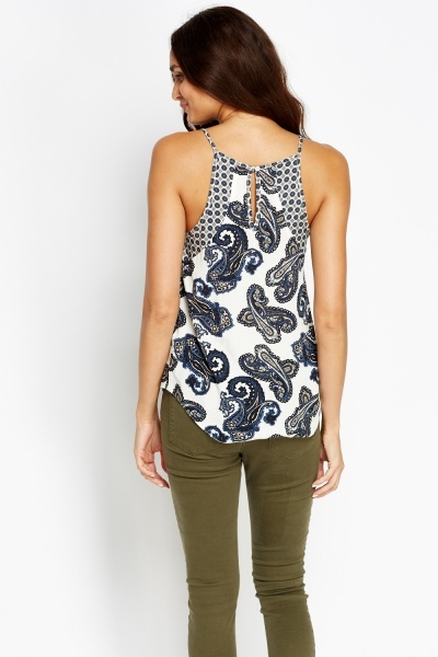 Navy Paisley Cami Top