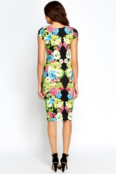Short Sleeves Printed Midi Bodycon Dress