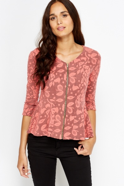Textured Zip Front Swing Top