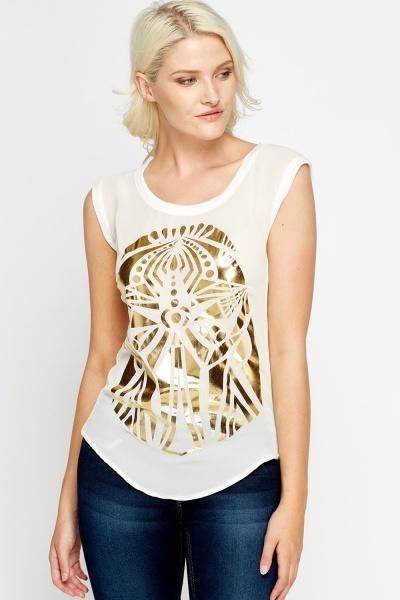 Image of Gold Metallic Print Black T-Shirt