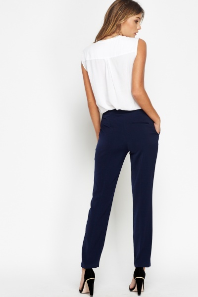 High Waist Straight Leg Trousers