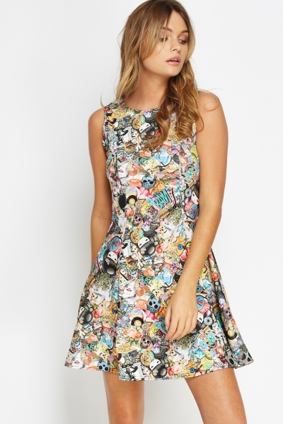 Multi Comic Print A-Line Dress