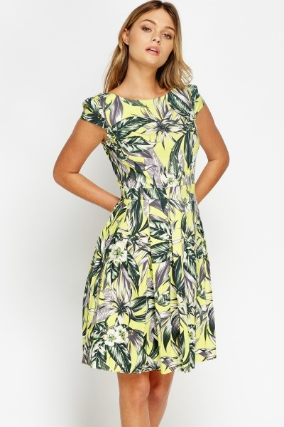 Neon Lime Leaf Print Skater Dress