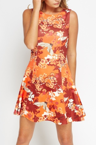 Ornate Floral A-Line Dress