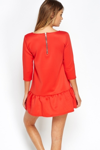 Pleated Hem Red Petite Dress