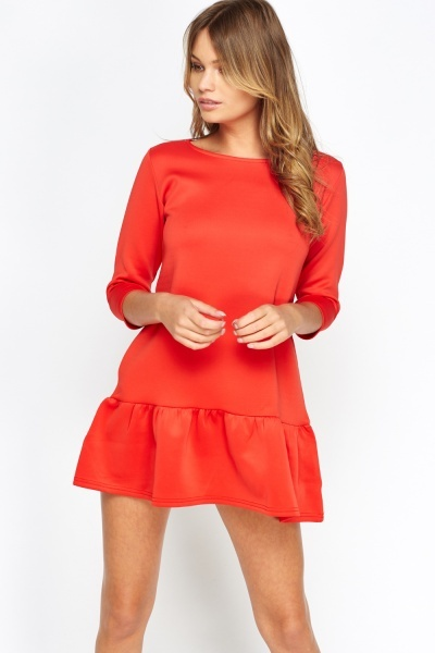 Pleated Hem Red Petite Dress (SIZE 12)