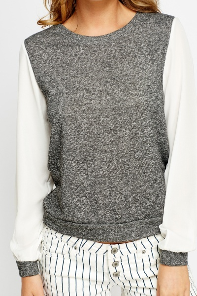 Shirred Sleeves Speckled Jumper