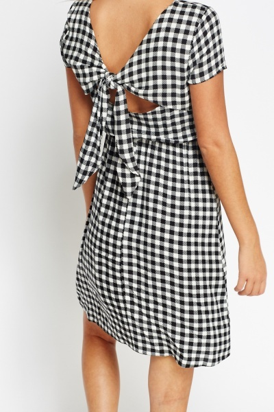 Tie Back Mono Grid Dress