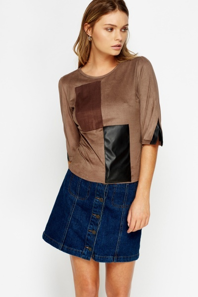 Faux Leather Front Velveteen Top