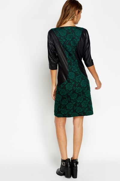 Faux Leather Insert Textured Dress