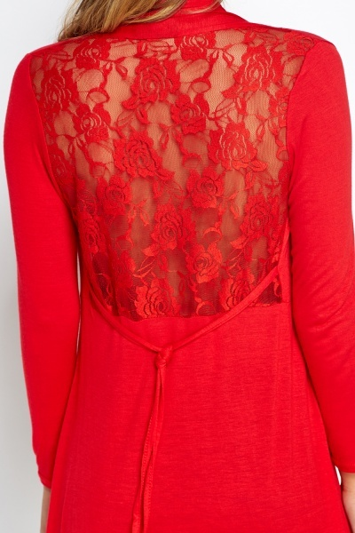 Lace Back Asymmetric Cardigan