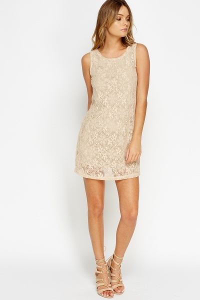 Lace Overlay Mini Dress