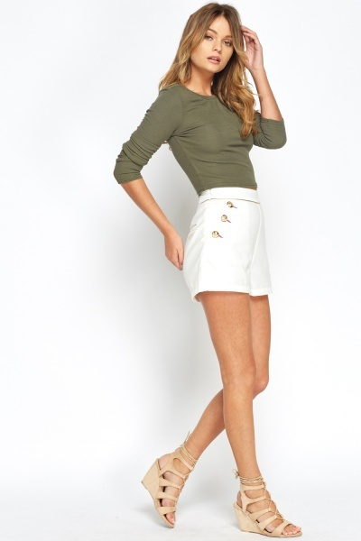 Military Button Side Hot Pants