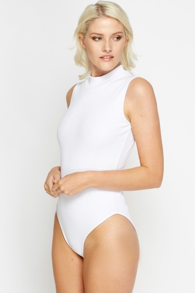 Ribbed High Neck Bodysuit