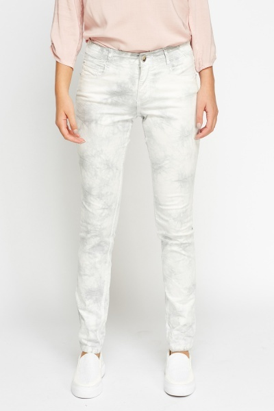 Tie Dye Washed Grey Jeans