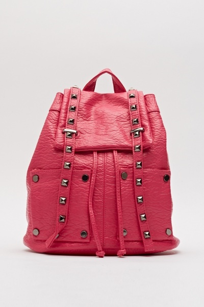 Faux Leather Studded Backpack