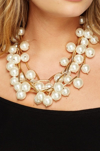 Layered Gold Insert Pearl Necklace