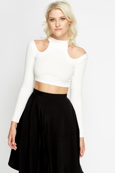 Cut Out Sleeves Crop Top
