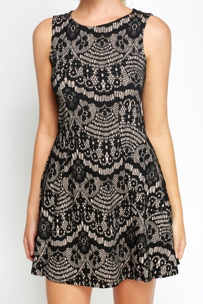 Lace Printed Black Skater Dress