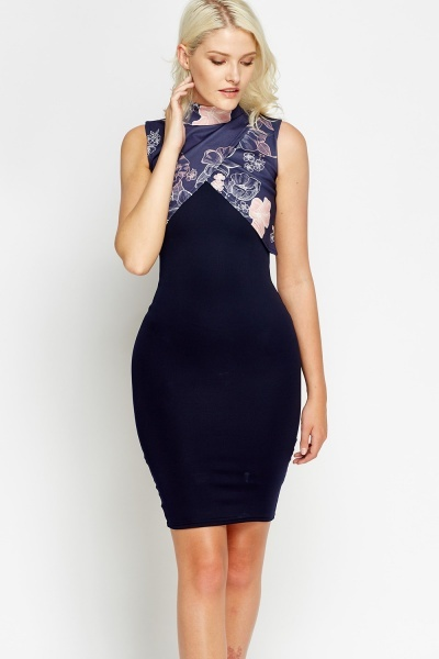 Printed Overlay Bodycon Dress