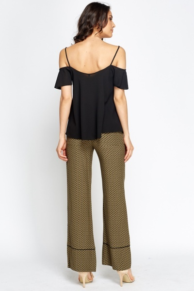 Khaki Wide Fit Trousers