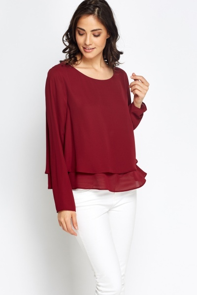Mesh Overlay Hem Long Sleeves Top