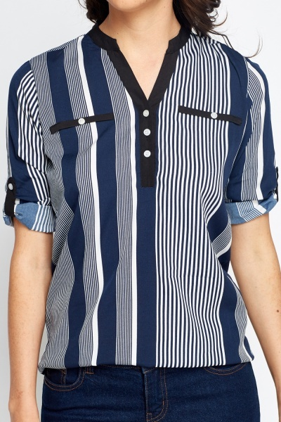 Stripe Roll Up Sleeves Shirt