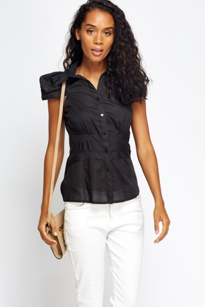 Cup Sleeve Pinstripe Sheer Shirt