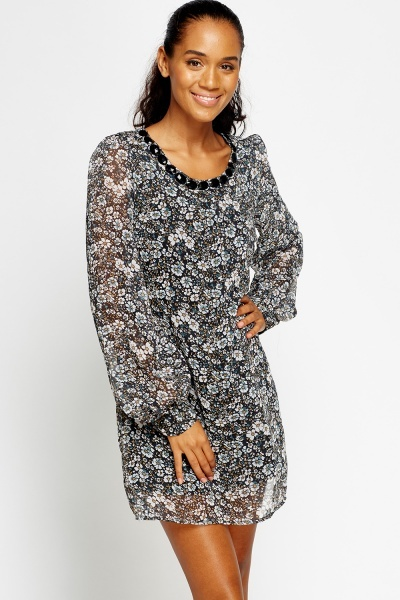 Encrusted Neck Floral Shift Dress