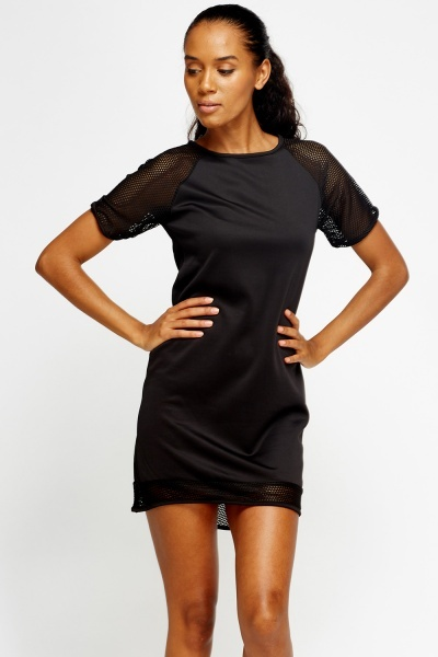 Laser Cut Trim Shift Dress
