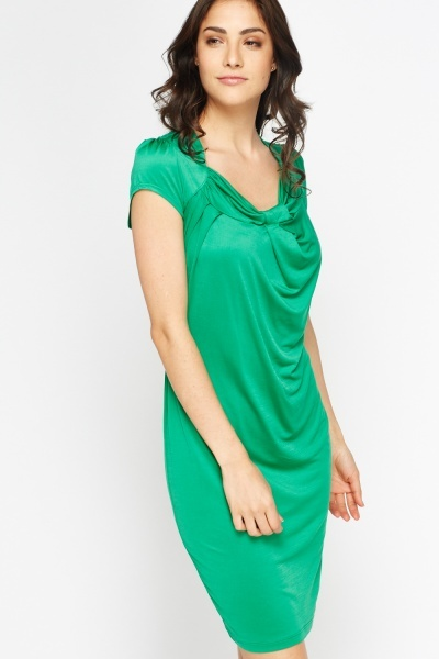 Pleated Cup Sleeves Shift Dress