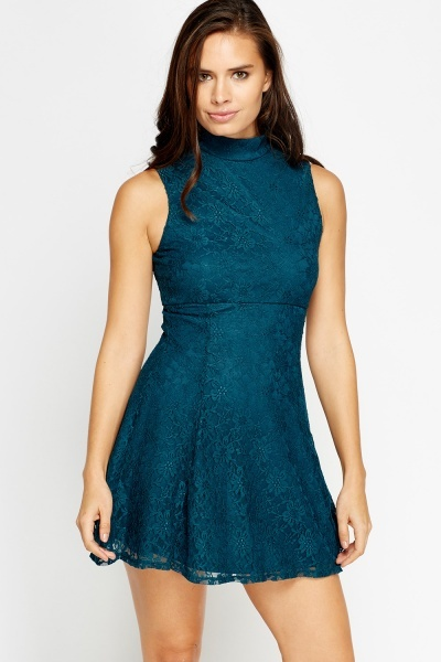 High Neck Lace Skater Dress