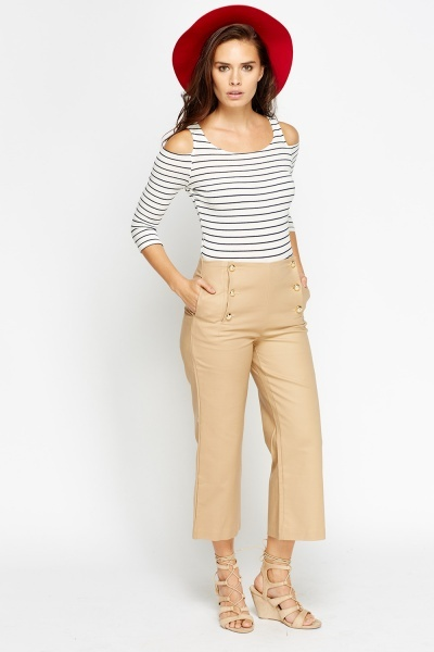 High Waisted Sand Cropped Trousers